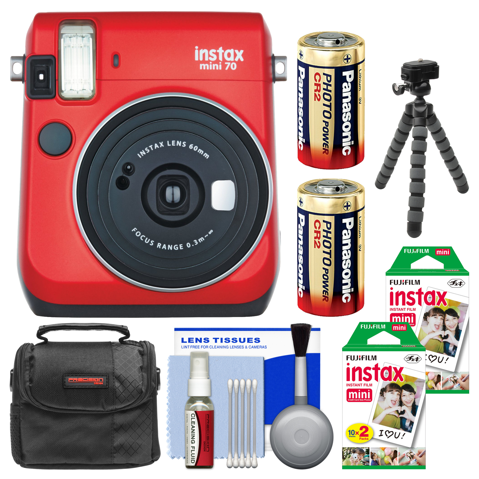 FujiFilm Instax Mini 70 Instant Film Camera (Passion Red) with 40 Prints + Case + Batteries + Flex Tripod +... by Fujifilm
