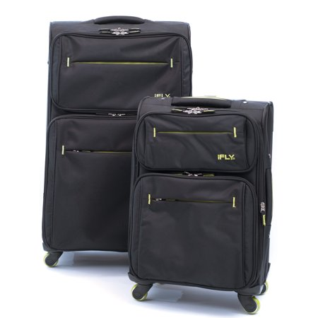 iFLY Softside Luggage Accent 2 pcs set, Black/Green