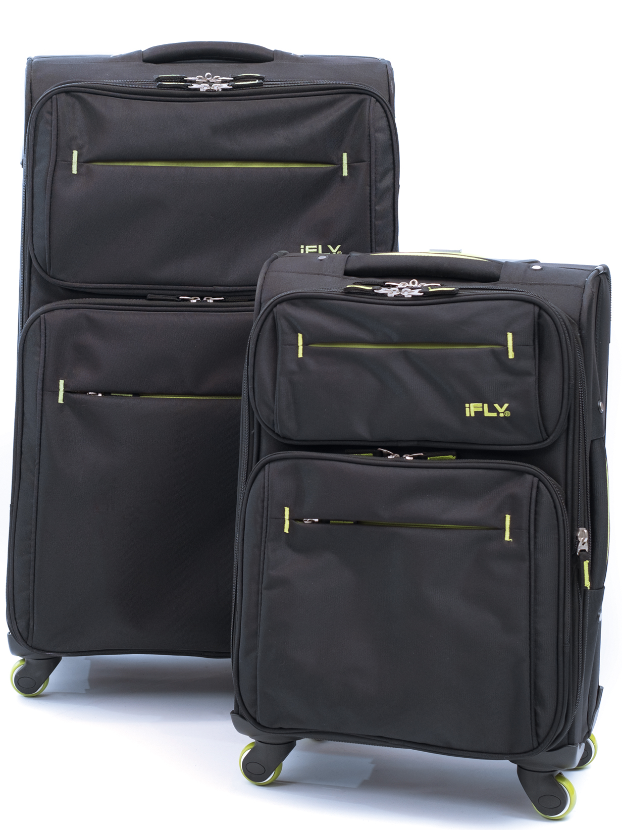 iFLY Soft Sided Luggage Accent 2 pcs set, Black/Green