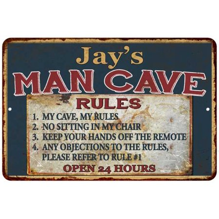 jays-man-cave-rules-chic-rustic-green-sign-home-8-x-12-high-gloss-metal-208120049010 by chico-creek-signs
