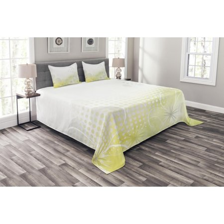 Grey and Yellow Bedspread Set, Abstract Grunge Design Water Bubbles and Flowers Image, Decorative Quilted Coverlet Set with Pillow Shams Included, Pale Grey and Yellow Green, by Ambesonne