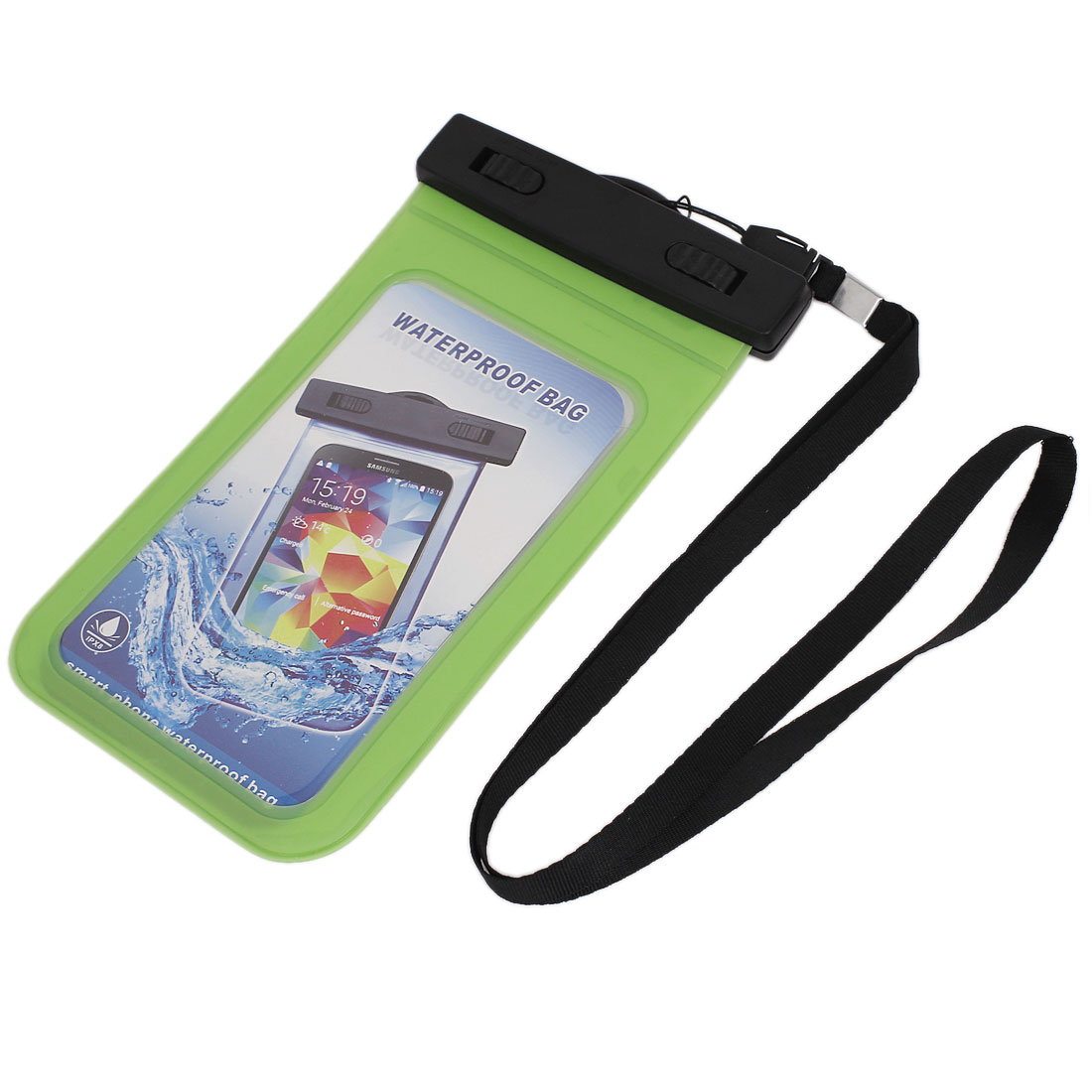 "Unique Bargains Waterproof Bag Holder Pouch Green for 5.5"" Mobile Phone w Neck Strap"