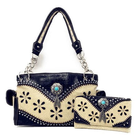 Western Tooled Leather Purse - Texas West Tooled Leather Rhinestone Laser Cut Concealed Carry Feather Country Western Shoulder Handbag/Wallet Set