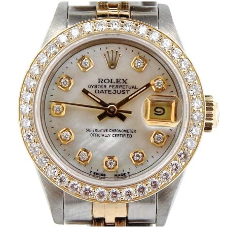 Pre-Owned Ladies Rolex Two-Tone 18K/SS Datejust White MOP Diamond 69173 (SKU R824095NMT)