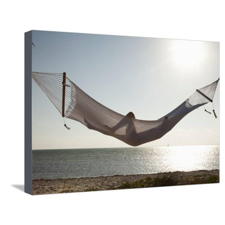 Woman in a Hammock on the Beach, Florida, United States of America, North America Stretched Canvas Print Wall Art By Angelo