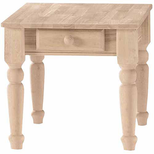 International Concepts Bj7Te Traditional End Table with Drawer, Ready To Finish