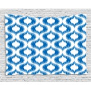 Ikat Decor Tapestry, Damask Motifs Pattern Blurriness over Finer Tied Warp and Weft Yarns Design Art, Wall Hanging for Bedroom Living Room Dorm Decor, 60W X 40L Inches, Blue White, by Ambesonne