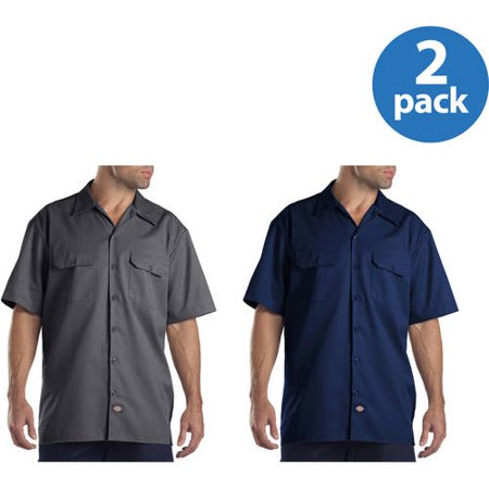 Dickies Big and Tall Mens Short Sleeve Twill Work Shirt, 2 Pack