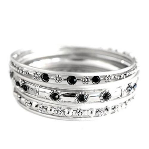 C Jewelry Plus Size Silver With Black Rhinestone Bangles, Set Of 9 Pieces