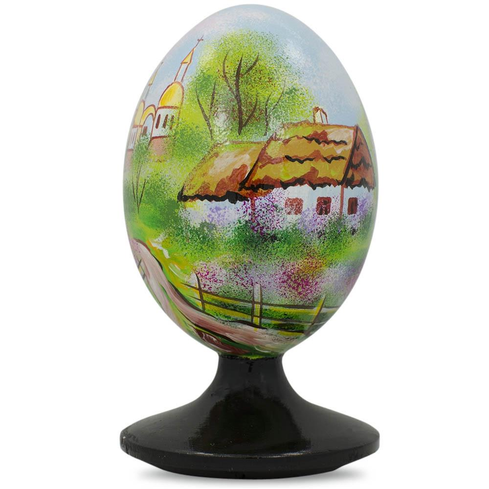 "4.75"" Ukrainian Village Scene with Church Wooden Easter Egg Figurine"