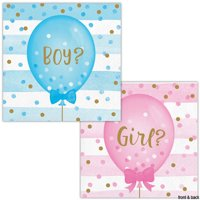 Baby Shower Gender Reveal 'Girl or Boy Balloons' Small Napkins (16ct)