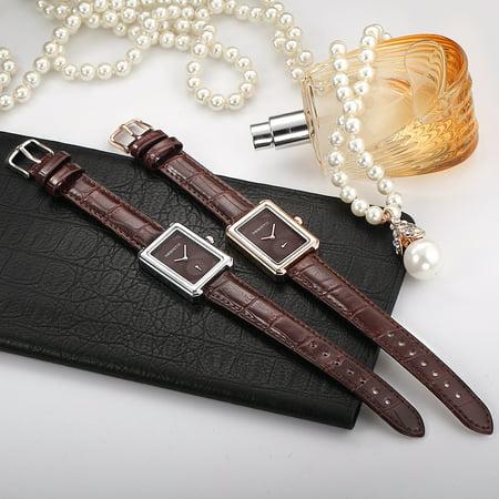 REBIRTH Femmes Marque Montres-Bracelets Pour Femmes Montre En Cuir De Mode Quartz Montres Marron + rose d'or - image 2 de 7