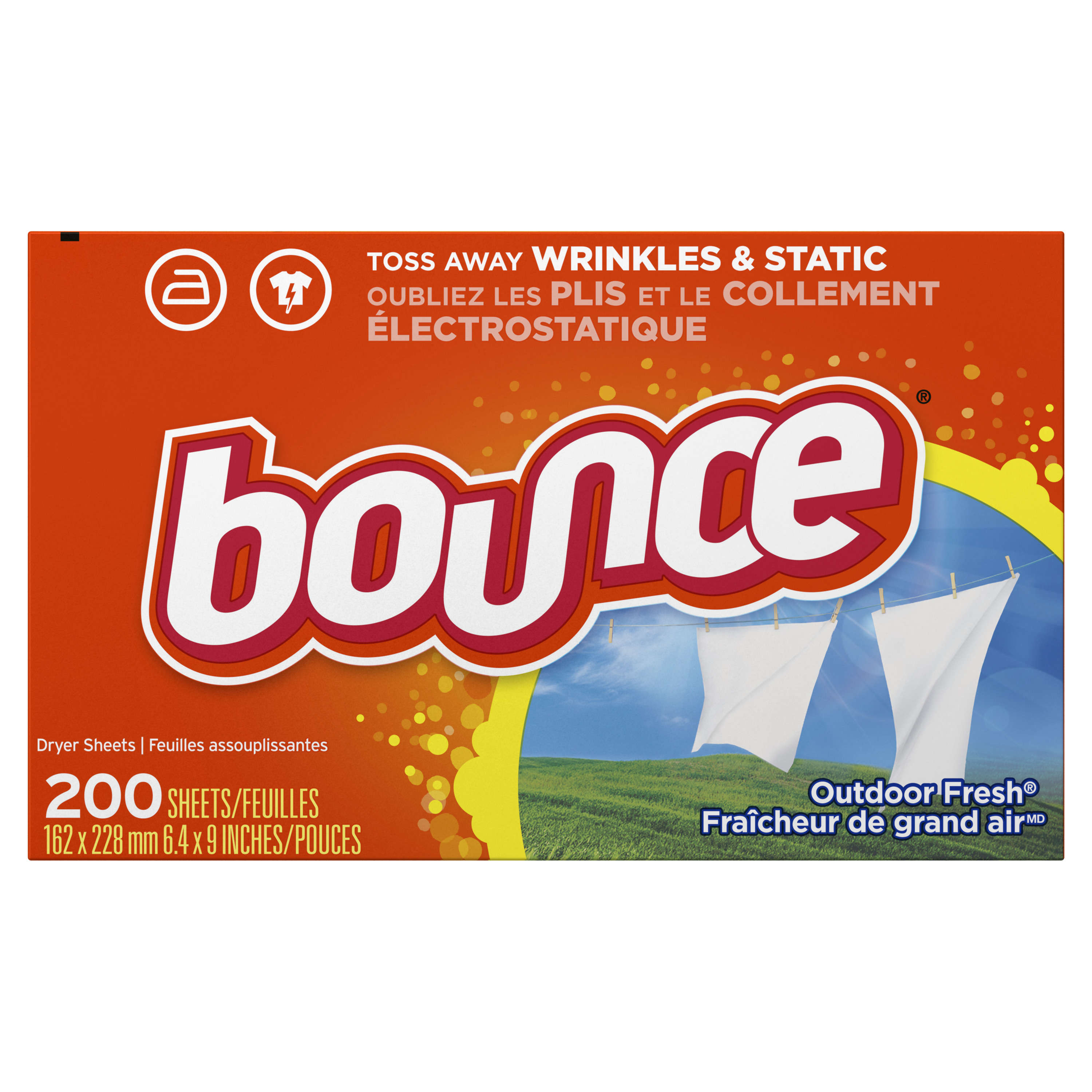 Bounce 4-In-1 Dryer Sheets, Outdoor Fresh, 200 Sheets