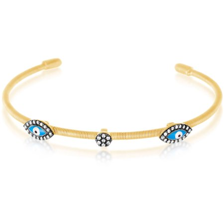 14kt Gold over Sterling Silver Two-Tone Cubic Zirconia and Enamel Evil Eye Bangle (Enamel Bangle Jewelry)