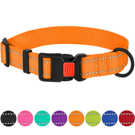 Reflective Dog Collar Safety Nylon Collars for Extra Large Dogs with Buckle Adjustable Size 18-26 Inch, Orange Fish Reflective Collar