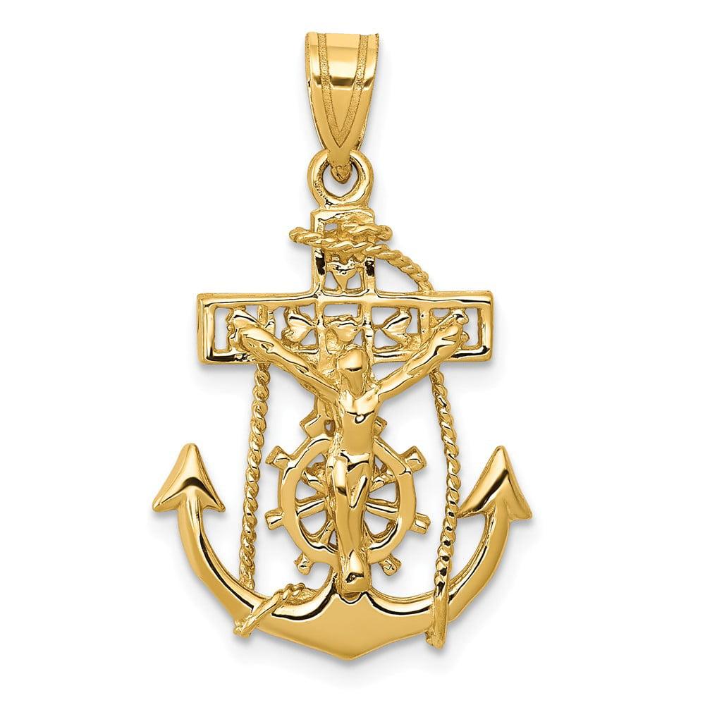 14k Yellow Gold Mariners Cross Crucifix Pendant