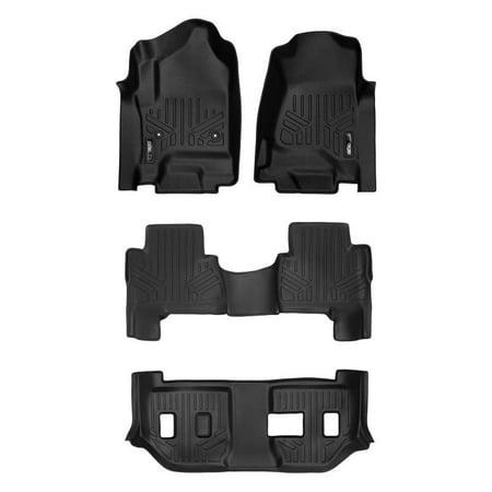 Maxliner 2015-2018 Cadillac Escalade ESV Smartliner Floor Mats 3 Row Liner Set Black (Cadillac Escalade Esv Rear Floor)