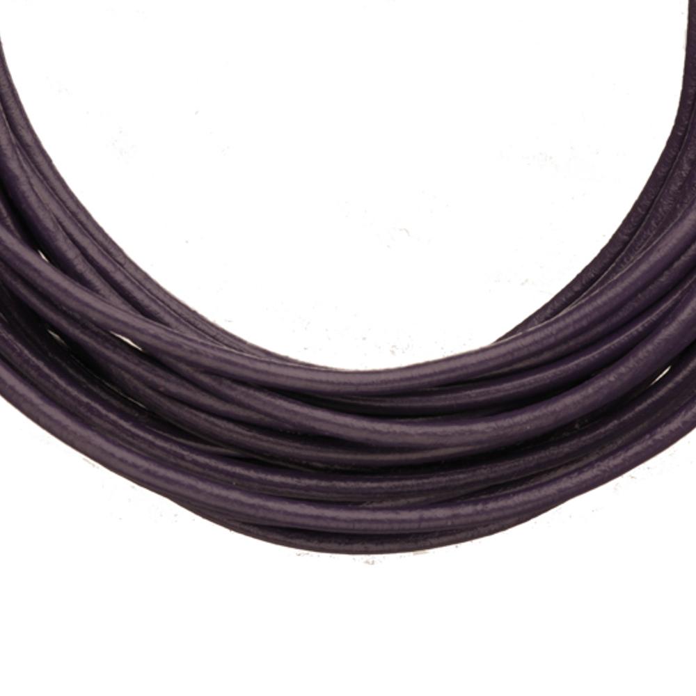Full-Grain Genuine Leather Cord, 2mm Round Dark Indigo 5 Yard