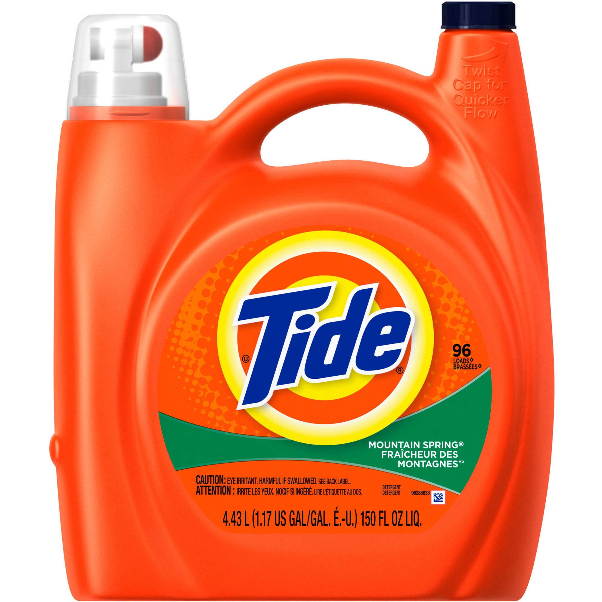 Tide Mountain Spring Scent Liquid Laundry Detergent, 96 Loads 150 oz