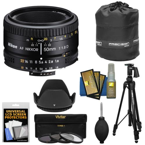 Nikon 50mm f/1.8D AF Nikkor Lens with 3 UV/CPL/ND8 Filters + Pistol Grip Tripod + Pouch Kit for D3300, D5300, D5500, D7100, D7200, D750, D810 Camera