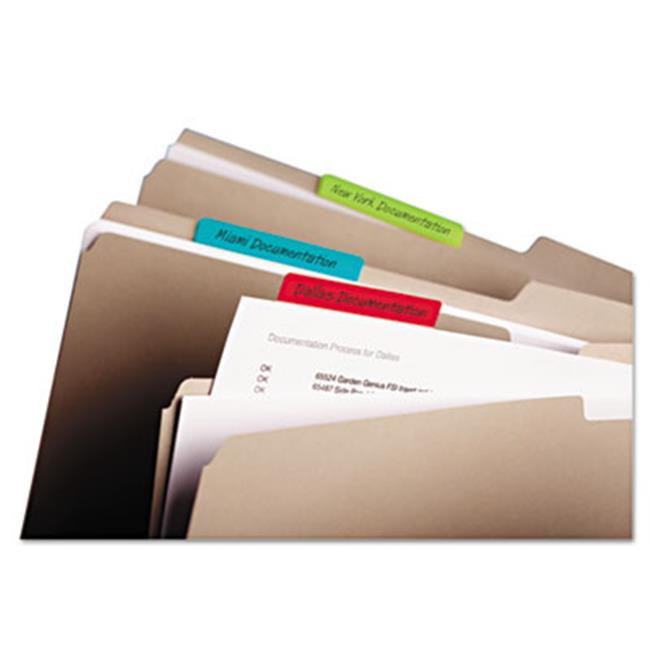 Durable File Tabs  3 x 1.5  Solid  Assorted Primary Colors  24-PK