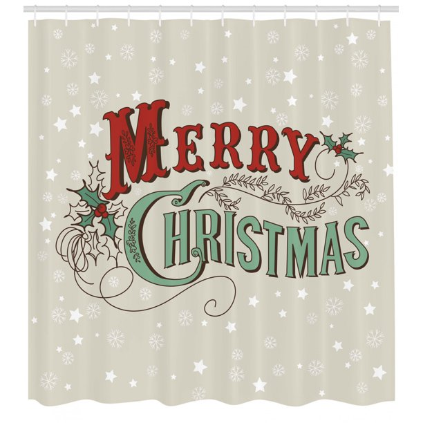 Christmas Shower Curtain Xmas Stars And Snowflakes Backdrop With Stylized Retro Lettering Fabric Bathroom Set With Hooks Eggshell Sea Green Ruby By Ambesonne Walmart Com Walmart Com
