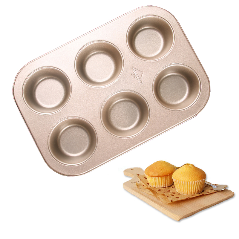 Cake Mold Carbon Steel Versatile Sturdy Nonstick Pan Muffin Cupcake Tray Mould Baking Bakeware Tool ,6 Cups ,(Package in Kraft Box)