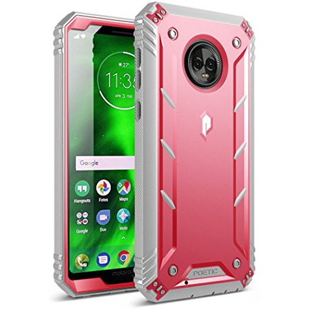 Moto G6 Rugged Case, Poetic Revolution [360 Degree Protection] Full-Body Rugged Heavy Duty Case with [Built-in-Screen Protector] for Motorola Moto G6