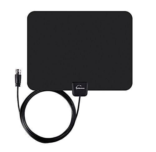 White Digital Indoor Leaf Flat Tv Antenna Hdtv Dtv Signal Hd Vhf Uhf High Gain