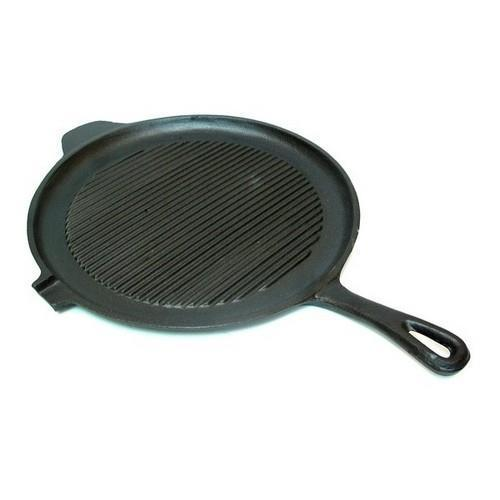 0166-10148 Old Mountain Cast Iron Preseasoned Round Griddle Grill Pan by