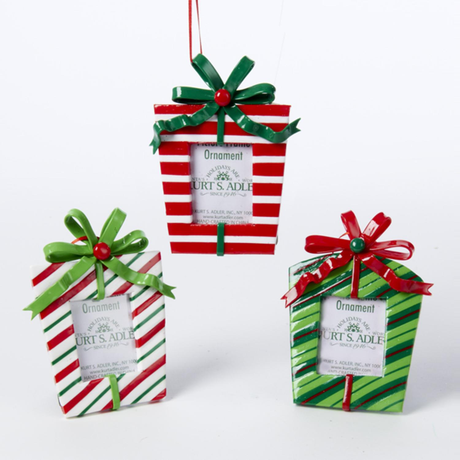 club pack of 12 red white and green striped gift box photo frame christmas ornament 45 walmartcom