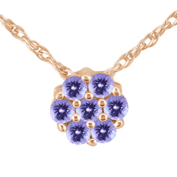 1.26 Ct Round Blue AAA Tanzanite 925 Rose Gold Plated Silver Pendant