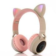 Wireless Bluetooth Kids Headphone, Cat Ear Bluetooth Headphones Volume Limiting,LED Light Up Kids Wireless Headphones Over Ear with Microphon