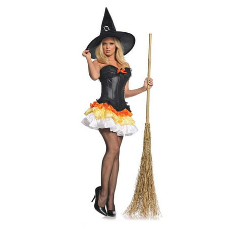 Sweet Treat Candy Corn Corset Tutu Witch Womens Fancy Dress Halloween Costume L](Halloween Sweet Bags)