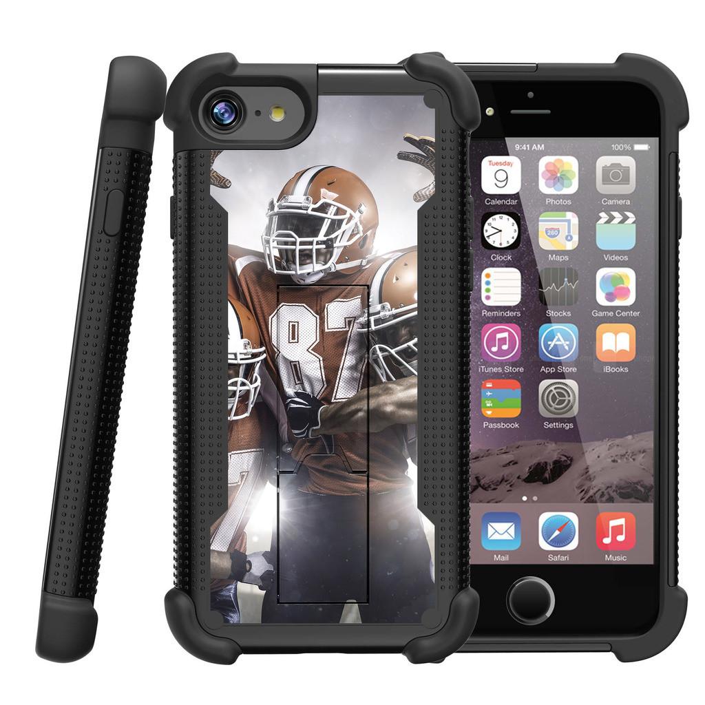 "Apple iPhone 7 4.7"" Shockwave Armor Dual Layer Kicsktand Case - Football Victory"
