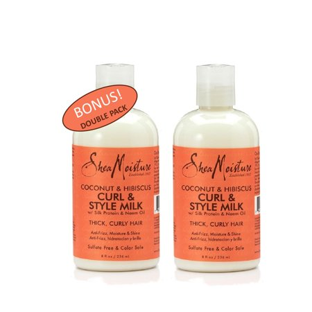 Shea Moisture Coconut & Hibiscus Curl & Style Milk w/ Silk Protein & Neem Oil - Thick Curly Hair - Anti-frizz moisture & Shine - 8 fl oz - Value Double Pack - Qty of