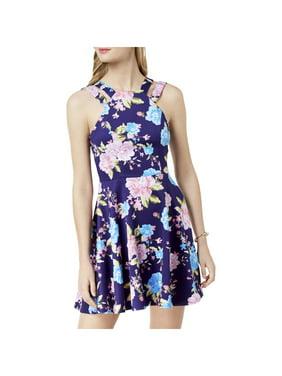 205727839 Product Image B. Darlin Womens Juniors Floral Print Sleeveless Mini Dress  Purple 3/4
