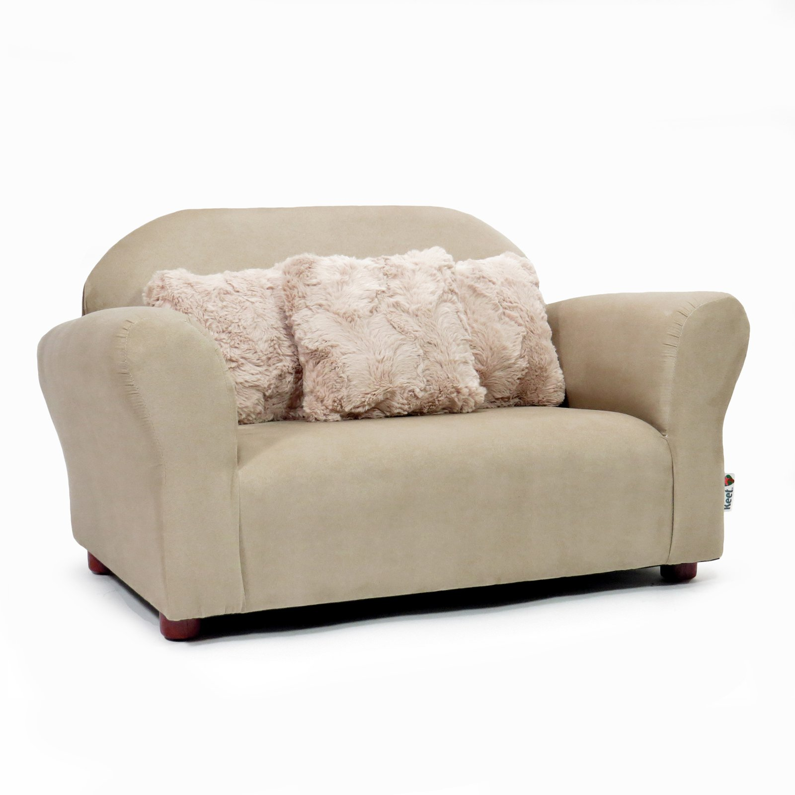 Brown and Khaki Keet Plush Childrens Sofa with accent pillows