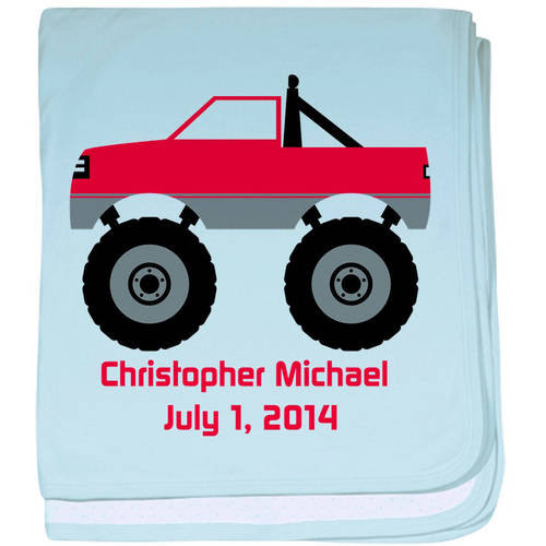 Cafepress Personalized Truck (Red) Baby Blanket