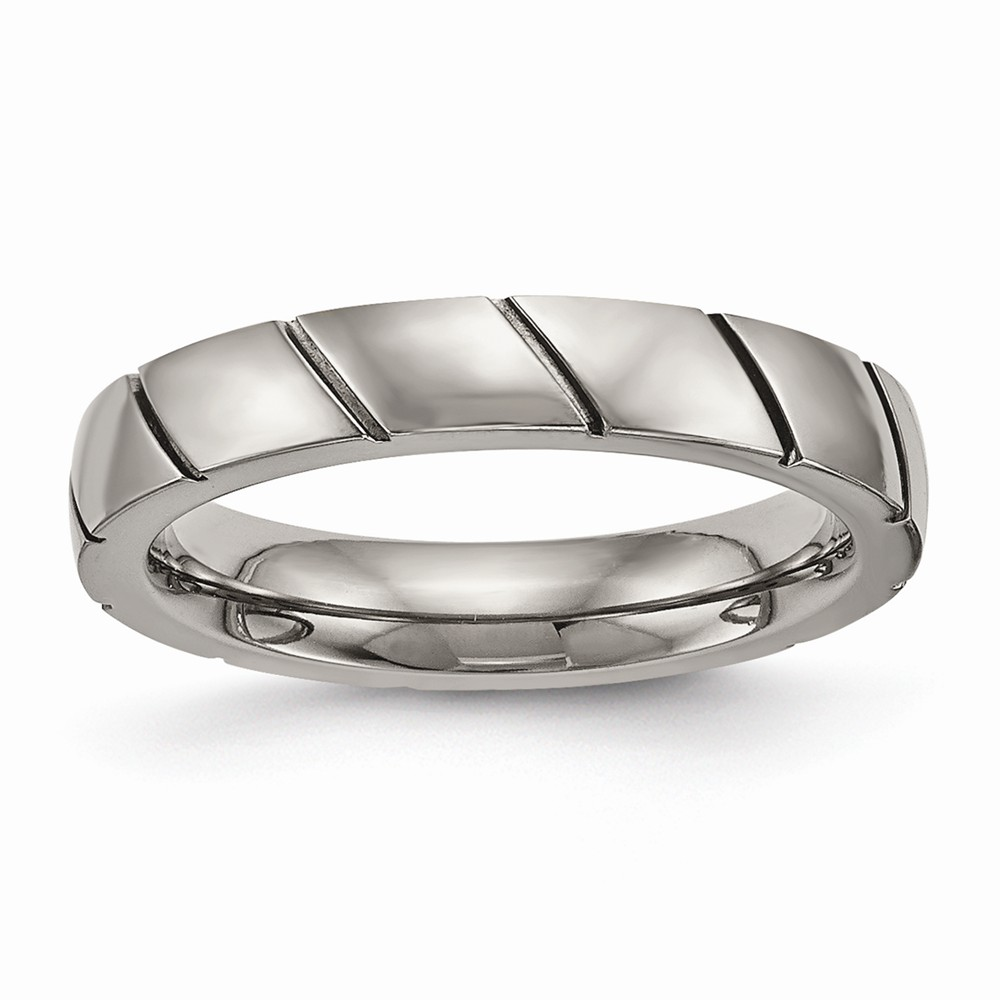 Bridal Wedding Bands Decorative Bands Titanium Polished Grooved Ring Size 6