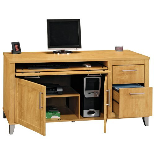 Bush Somerset Credenza Computer Desk - Maple