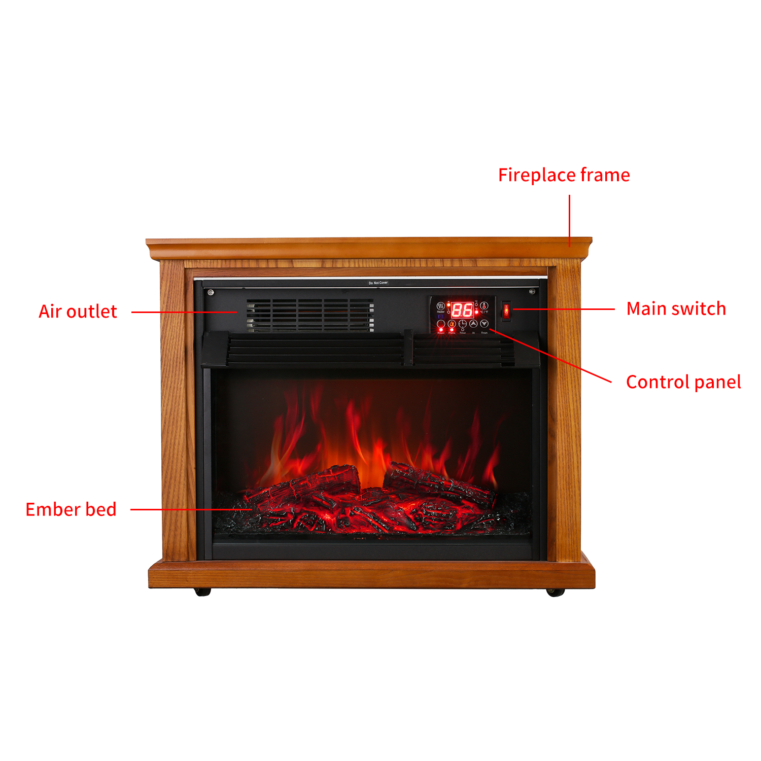 Ainfox Digital Electric 3d Flame Fireplace Stove Infrared Heater
