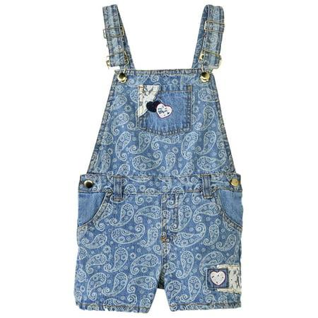 Blue Girls Coverall - Girls Blue Denim Paisley Shortall Overalls Shorts Heart Coveralls 5