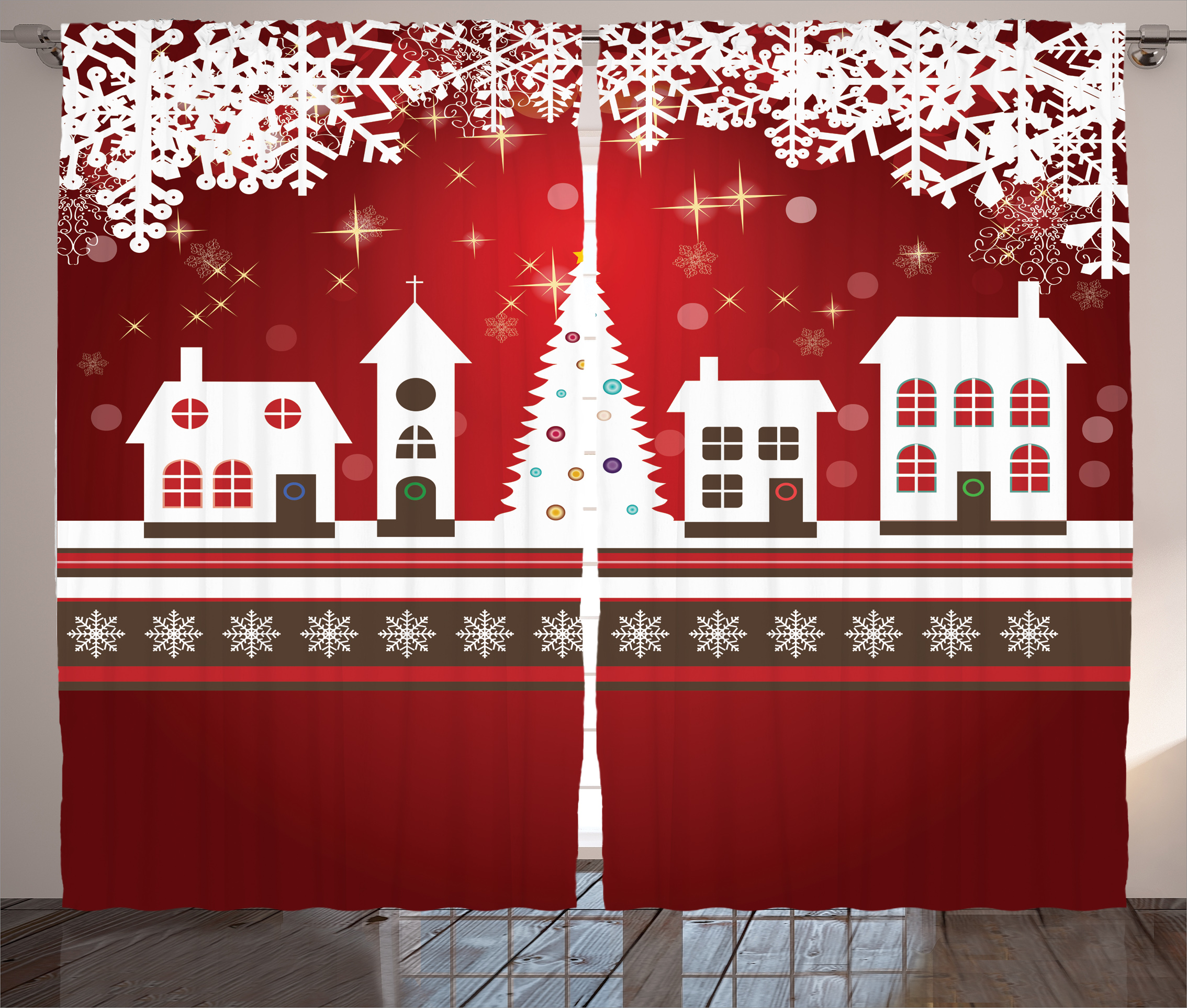 Christmas Decorations Curtains 2 Panels Set, Winter Holidays Themed Gingerbread Houses Xmas Tree Lights and Snowflakes... by Kozmos