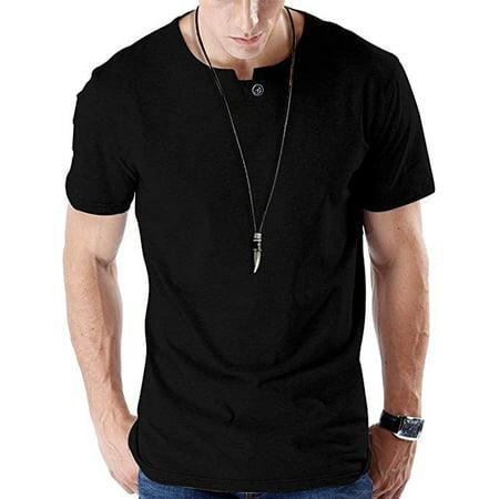 LELINTA Mens Casual Slim Fit Single Button Short Sleeve Placket Plain Henley Top T Shirts Black