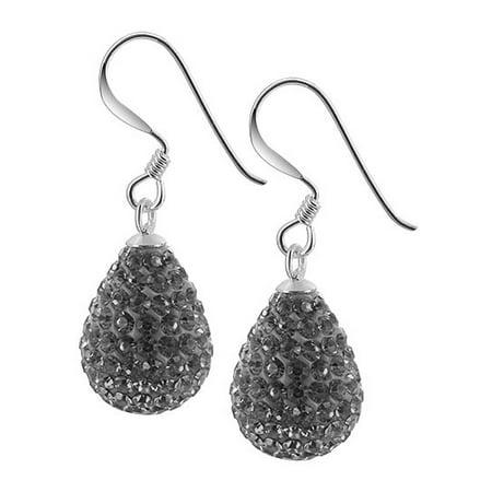 Gem Avenue 925 Sterling Silver Teardrop Shape Purple Crystal Studded Drop