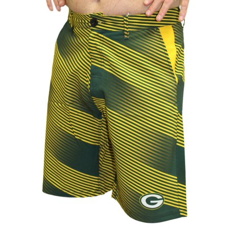 Green Bay Packers Nfl   Diagonal Striped   Mens Casual Polyester Walking Shorts