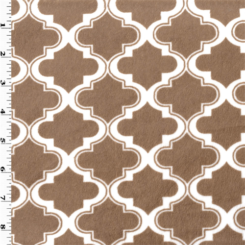 Light Brown/White Moroccan Minky, Fabric By the Yard