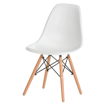 Eames Eiffel Dining Side Chair Replica, White with Oak