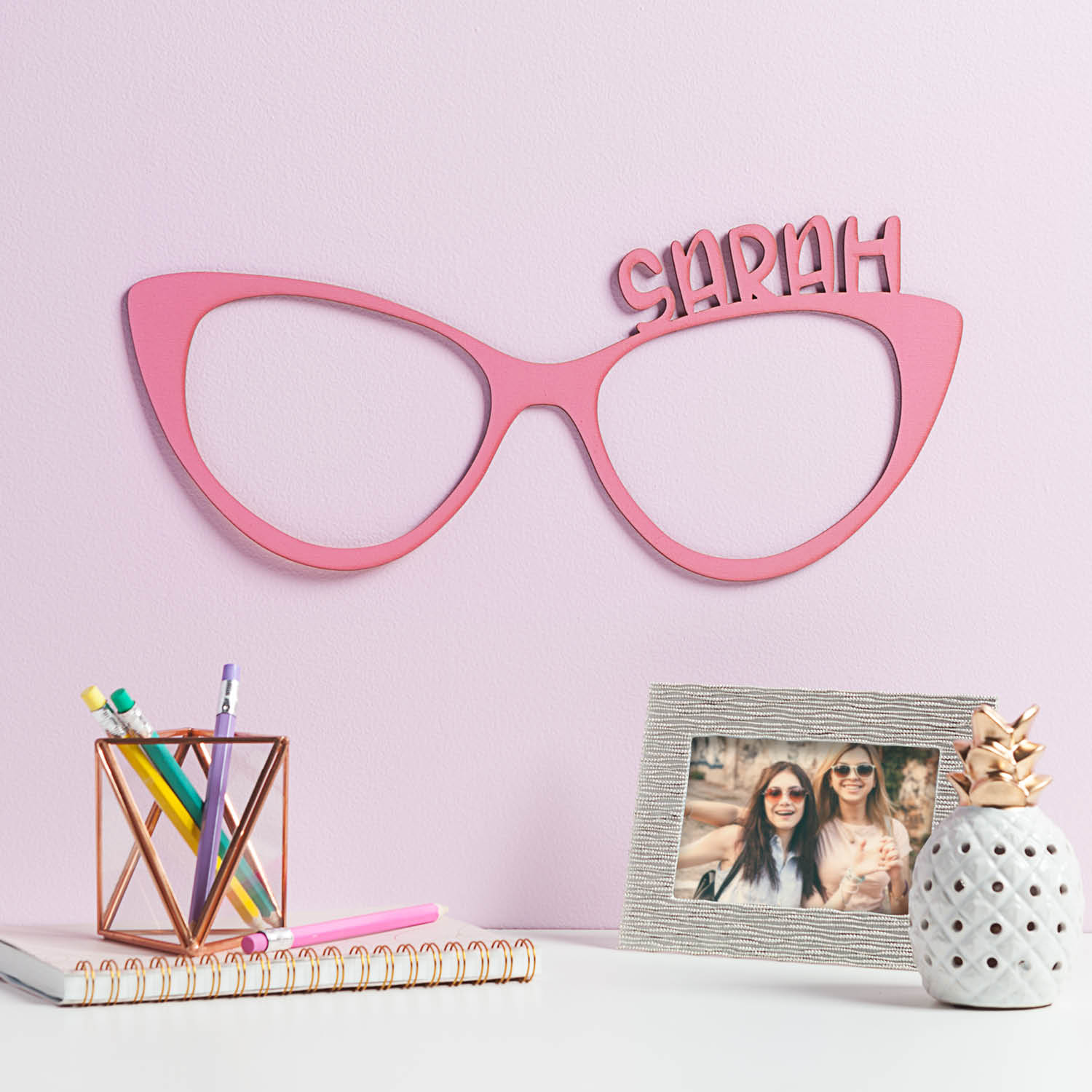 Personalized Pink Glasses Wood Plaque